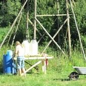 Stavba tábora - umývárka
